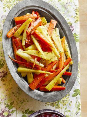 हनी-घुटा हुआ गाजर और पार्सनिप्स