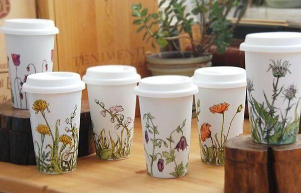 Tazas de viaje de cerámica ecológicas